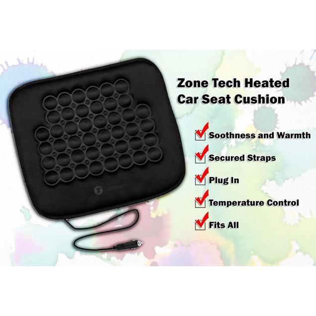 Zone Tech 12v Car Heated Seat Cushion Cover