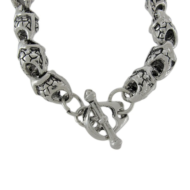 Chrome Plated Double Snake Link Toggle Clasp Mens Chain Bracelets