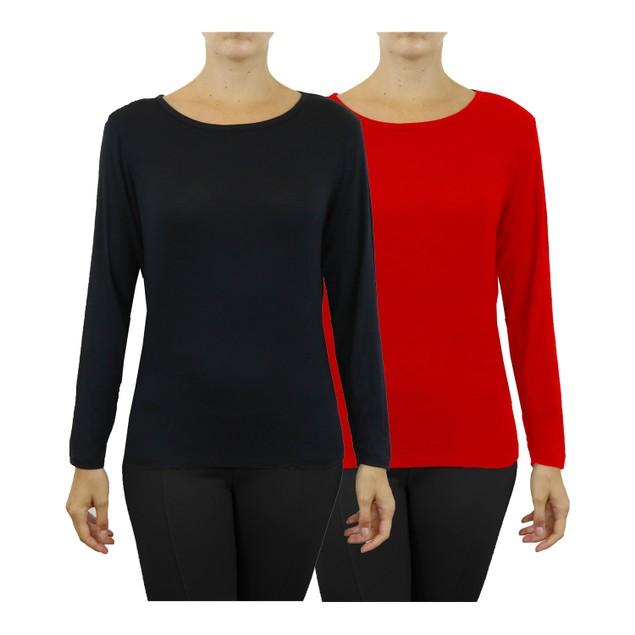 2-Pack Womens Lightweight Long Sleeve Stretch Tee