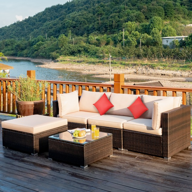 Costway 5PCS Outdoor Sectional Furniture Set