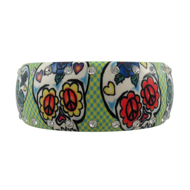 Rhinestone Day Of The Dead Sugar Skull Bangle Womens Bangle Bracelets
