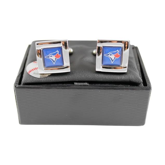 MLB Square Cufflinks with Square Shape Engraved Logo Design Gift Box Set