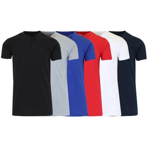 2-Pack Men's Slim Fitting Short Sleeve Henley Slub Tee (Sizes, S-2XL)