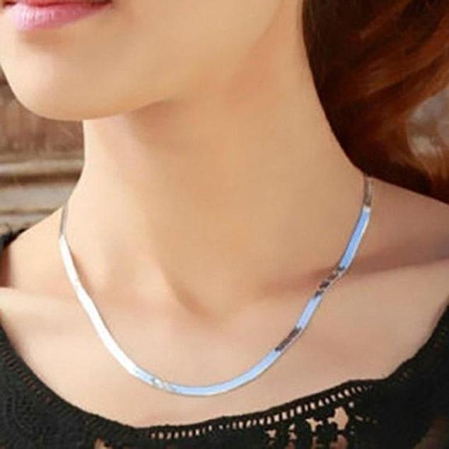 Silver 4mm Italian Herringbone Necklace