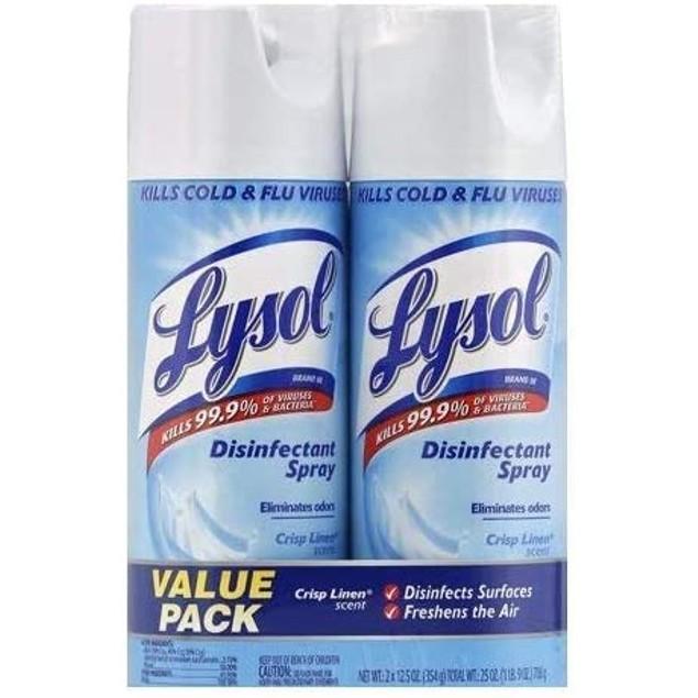 2 Pack Lysol Disinfectant Spray, Crisp Linen- Multiple Options