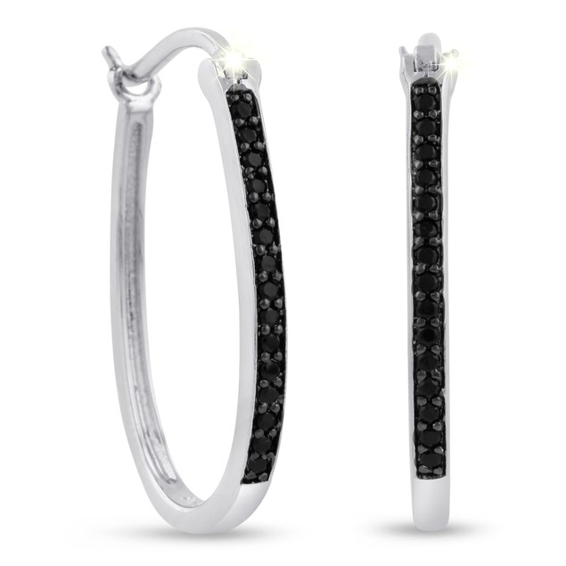 1/4ct Oval Shape Black Diamond Hoop Earrings