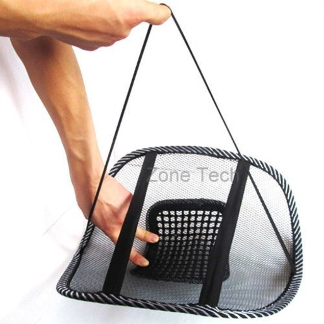 Zone Tech Black Mesh Massage Lumbar Back Seat Chair Posture Support