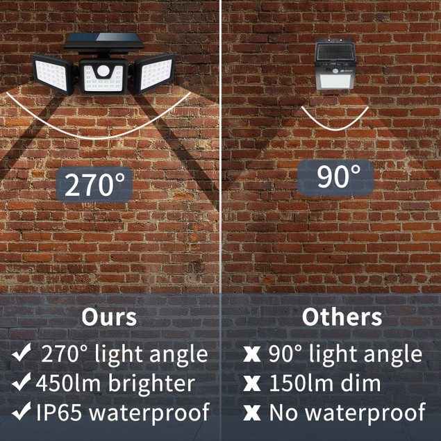 2-Pack 100-COB Solar 3 Heads Rotatable Split Motion Sensor Lamp