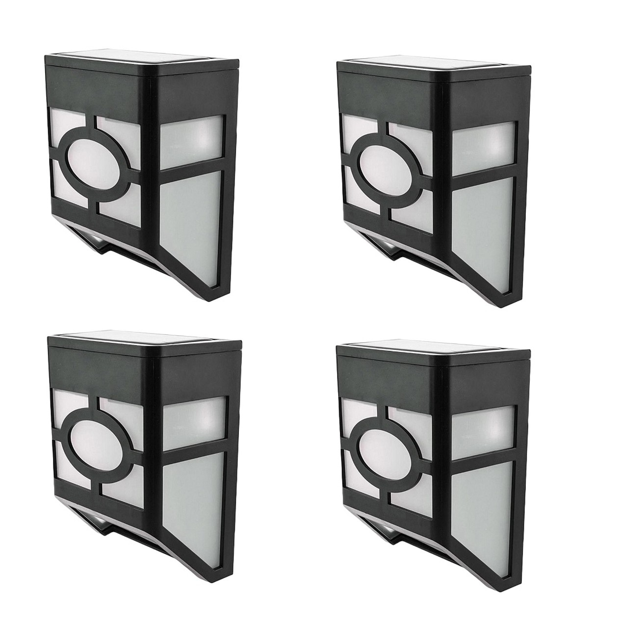 4-Pack White LED Solar Outdoor Waterproof Wall Mounted Solar Lights
