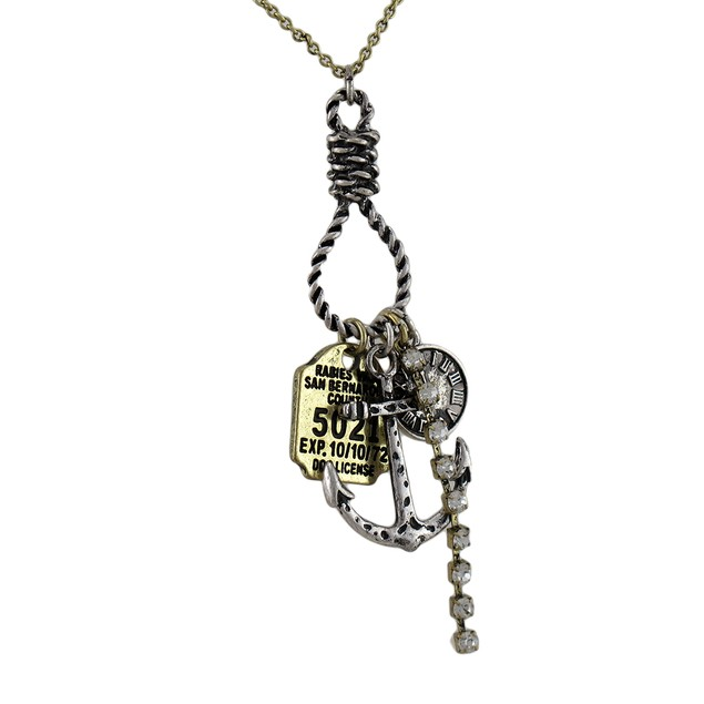 Anchor, Clock, Rabies Tag, Rhinestone Two Tone Womens Pendant Necklaces