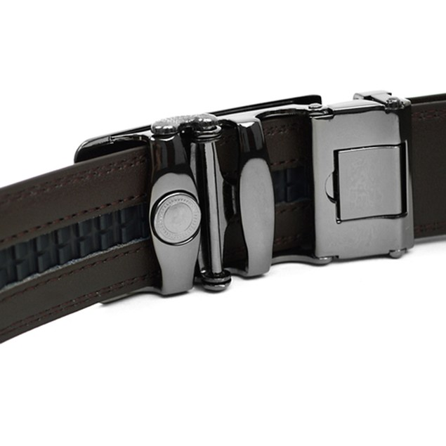 Men's Genuine Leather Automatic Sliding Buckle Ratchet Belt