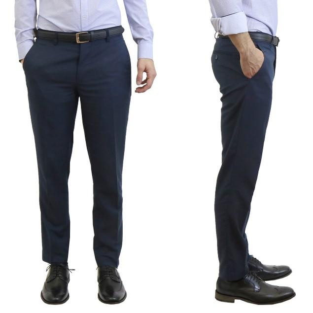 Men's Harvic Belted Slim Fit Dress Pants