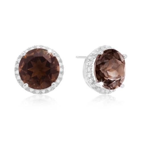 Sterling Silver 7 Carat Smoky Topaz Halo Stud Earrings