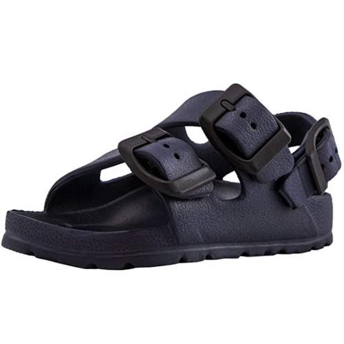 Brown Oak Kids Comfort Slides Adjustable Double Buckle EVA Sandal