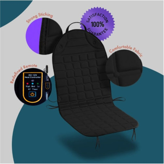 Zone Tech Heated Car Seat Heater Cushion 45 Minute Auto Safety Timer