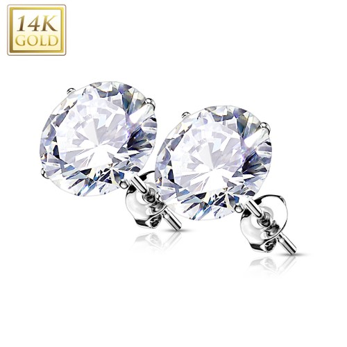 Pair of 14kt Gold Ear Studs with Prong Set CZ