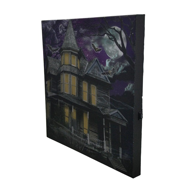 Darkness Falls Led Lighted Spooky Mansion Canvas Prints