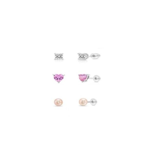 0.925 Sterling Silver 3PC Set- Clear Square C.Z, Pink Heart C.Z &  Fresh Water Pearl Screw-Back Earrings Set