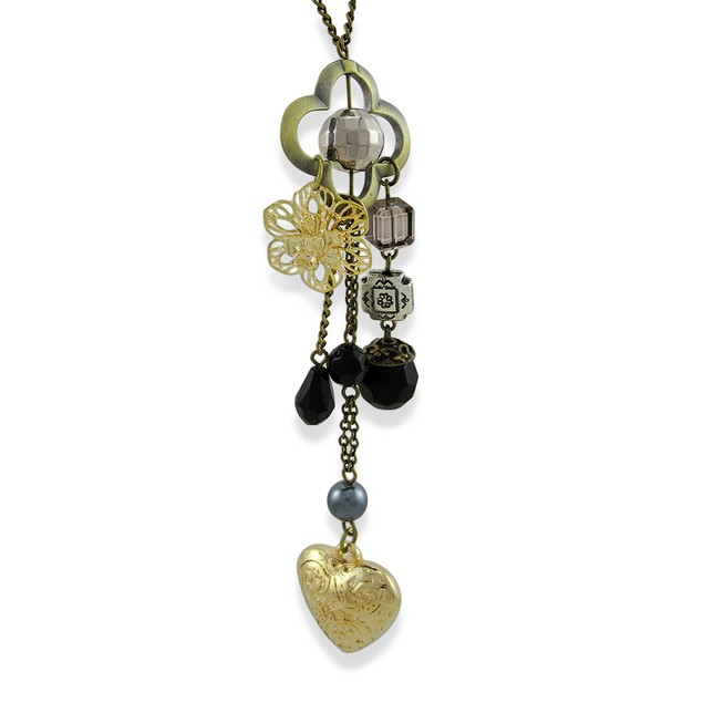 Brass Chatelaine Heart Beaded Necklace