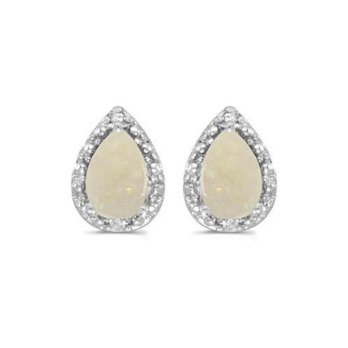 10k White Gold Pear Opal And Diamond Earrings