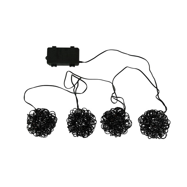 6 Foot Battery Operated Orange Led Sparkly Black String Lights