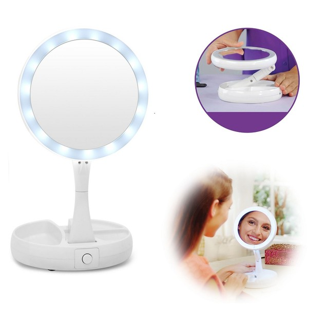 Vivitar Fold Away LED Double Sided Vanity Mirror