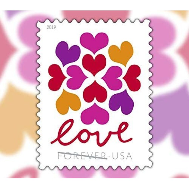 100-Pack USPS Hearts Blossom Love Forever Stamps