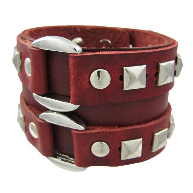 Brown Leather Double Chrome O Ring Wristband Mens Leather Bracelets
