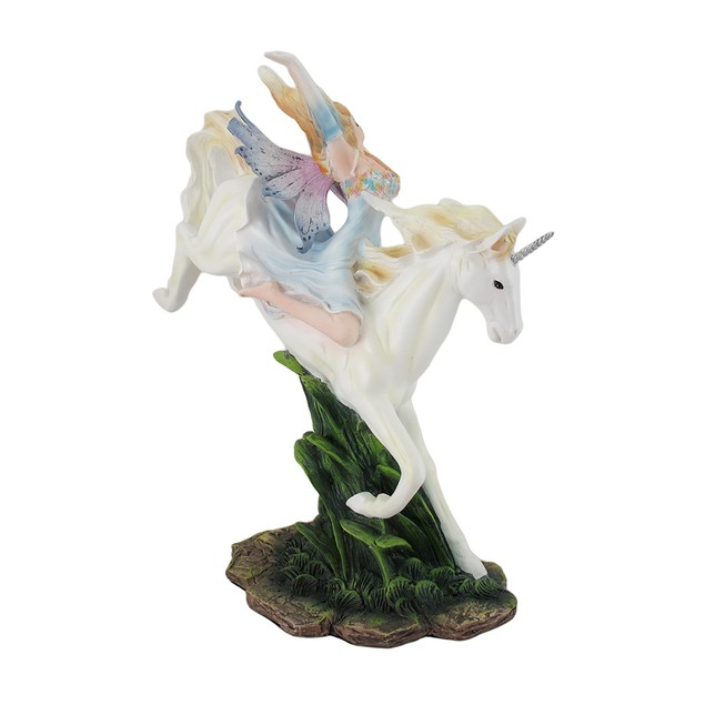Colorful Summer Fairy Riding White Unicorn Statue Statues