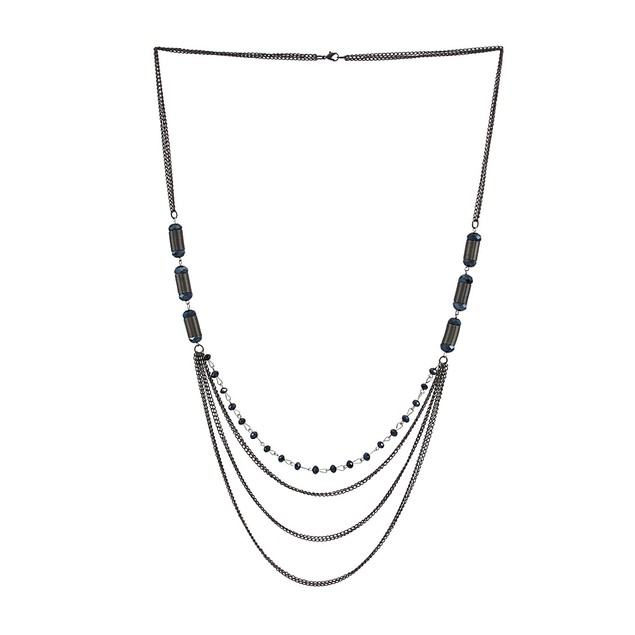 40 In. Gunmetal Swag Necklace With Faceted Chain Necklaces