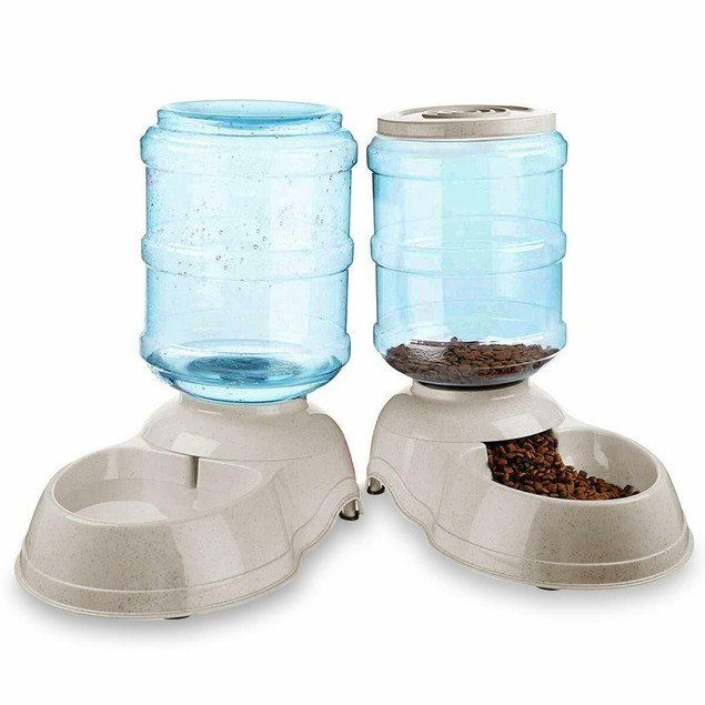 2-Pack Self Dispensing Pet Dog Cat Food Feeder Water Dispenser Gravity