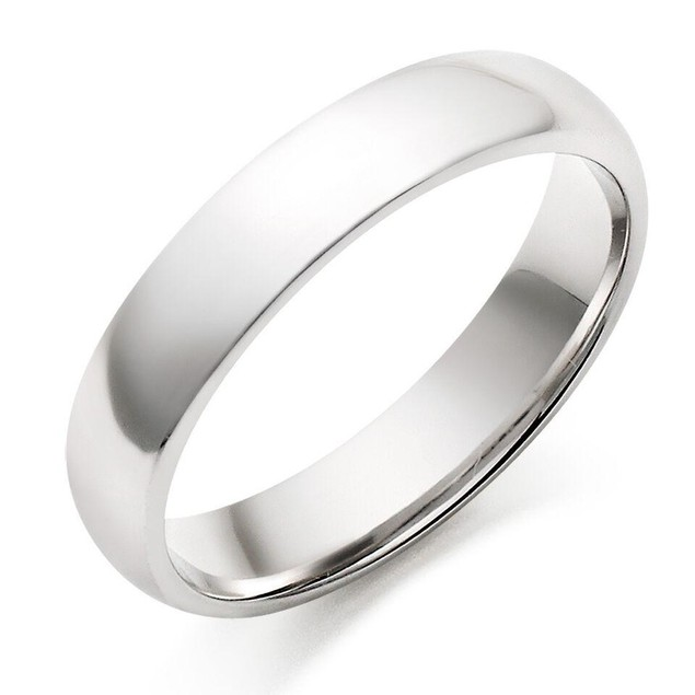 Titanium Ring Plain Dome High Polished Wedding Band Ring Comfort Fit