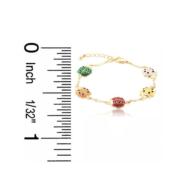 "18K Gold Plated Multi Colored Ladybug Enameled Children's Bracelets (5.5""+ 2""Extention)"
