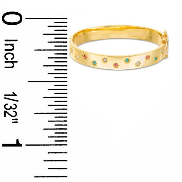 18k Gold Plated Multi Colored Stones Hinged Children's Bangle Bracelet