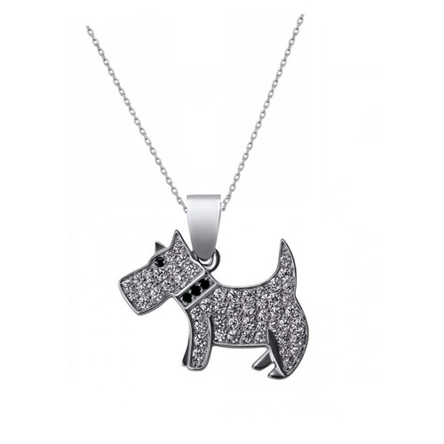 "0.925 Sterling Silver Simulated Diamond Dog Shape Pendant Charm W/ 18"" Cable Chain Set"