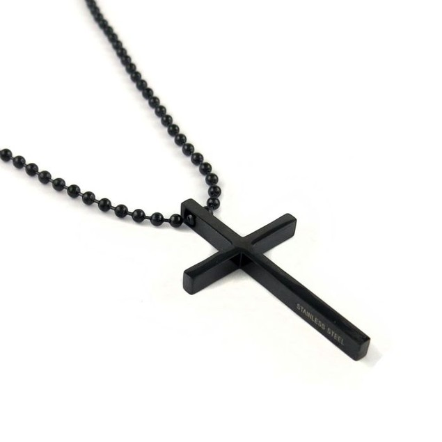 Stainless Steel Black Cross Necklace