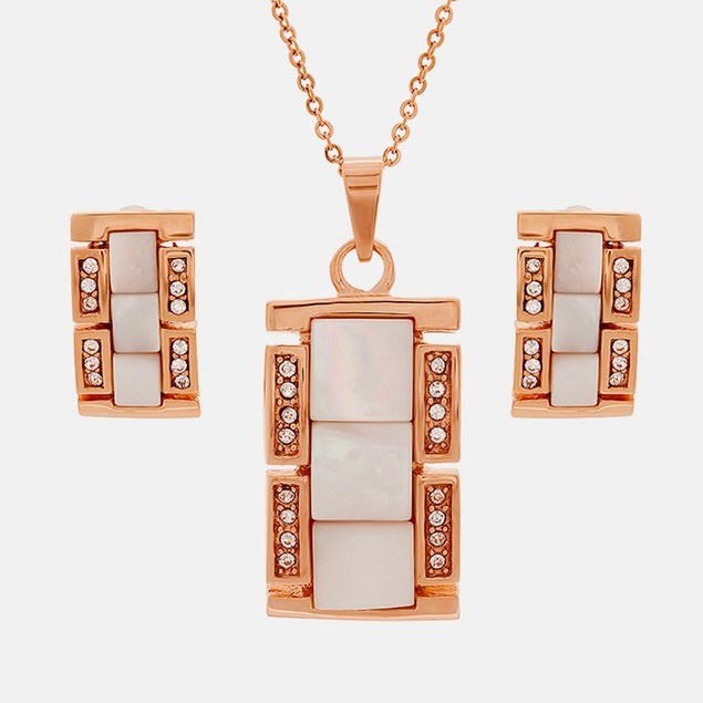 18k Rose Gold Plated Pendant Set with MOP Accents