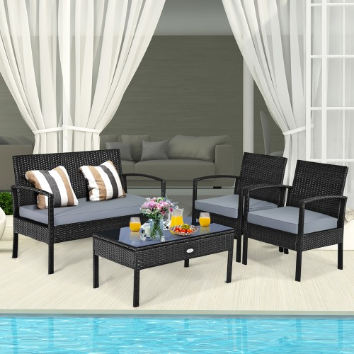 Costway 4 PCS Patio Rattan Wicker Furniture Set