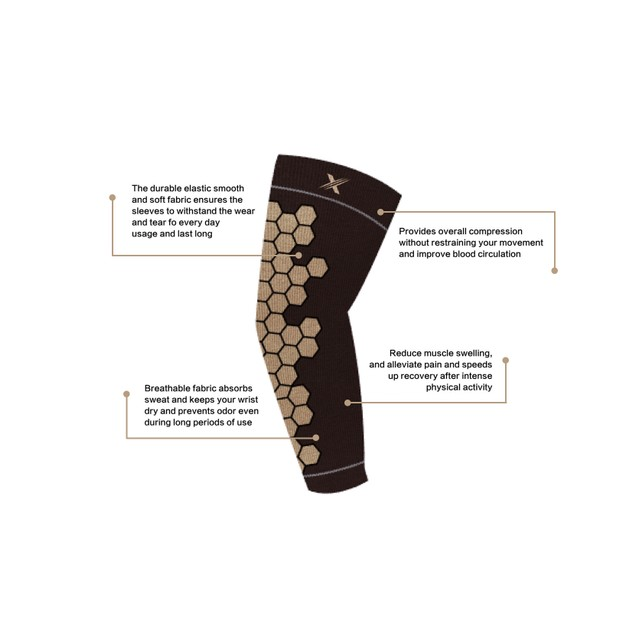 Copper Infused Arm Compression Elbow Support Sleeves (1-Pair)