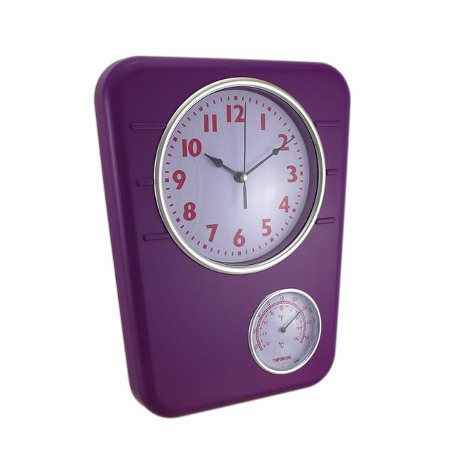 Bright Purple Wall Clock With Temperature Display Outdoor Clocks