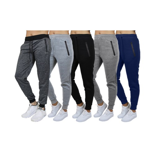 Women's French Terry Fashion Joggers with Tech Zipper Pockets