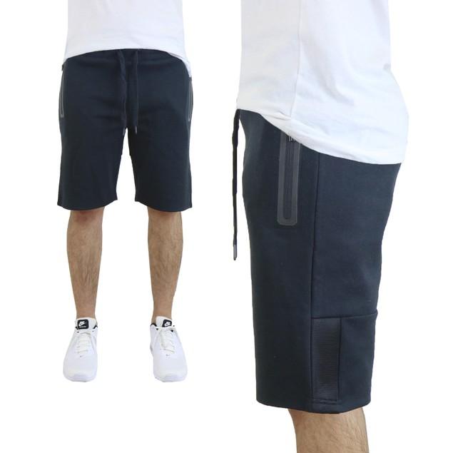 Men's Tech Fleece Shorts With Waterproof Zipper Pockets and Mesh Trim
