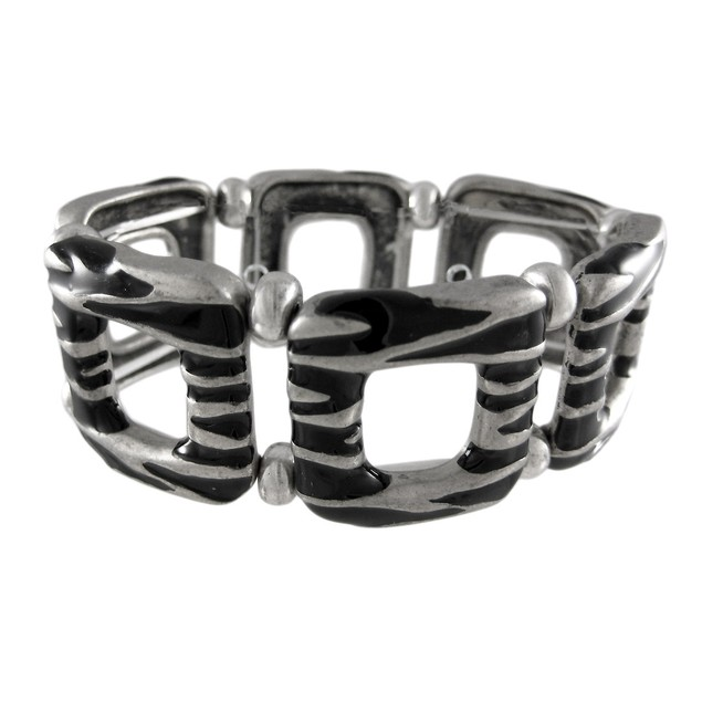 Black Enamel Pewter Zebra Stripe Stretch Bracelet Womens Stretch Bracelets