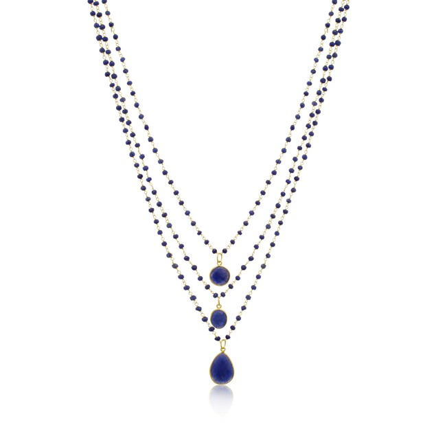 """14k Gold 93ct Sapphire Triple Strand Beaded Necklace, 26"""""""