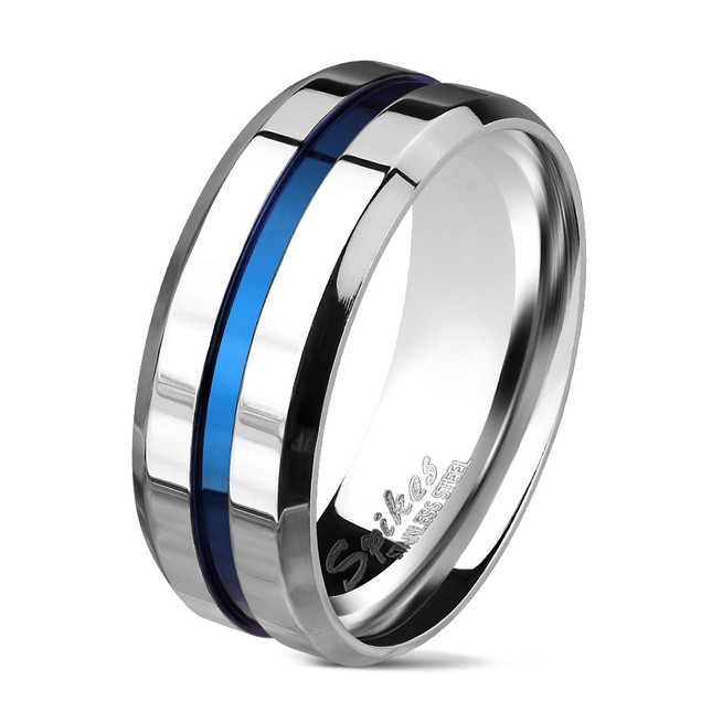Blue Stripe Stainless Steel Comfort Fit Mens Band