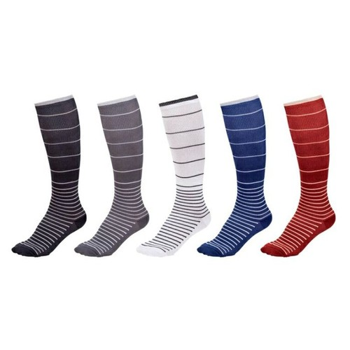 5-Pack Ultra-Support Striped Compression Socks