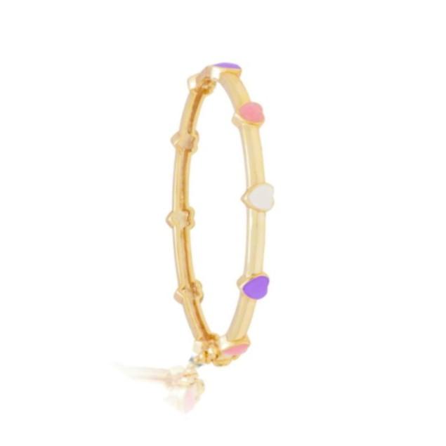 18KGP,  Pink, Blue, Purple, & Red Heart Enameled Children's Bangle Bracelets.(40mm)