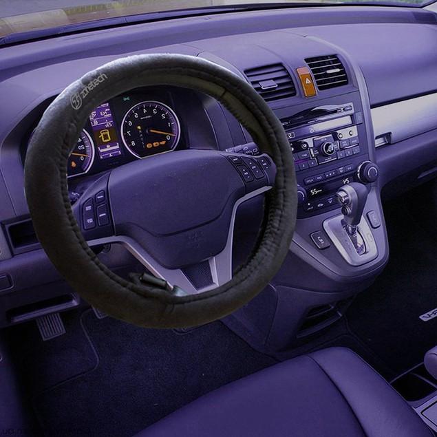 Zone Tech 12v Heating Black Comfortable Heated Steering Wheel Cover Slip On