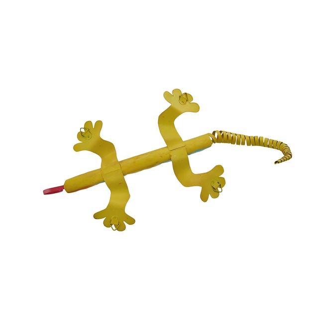 Yellow And Blue Metal Lizard Wall Hanging 16 In. Wall Sculptures