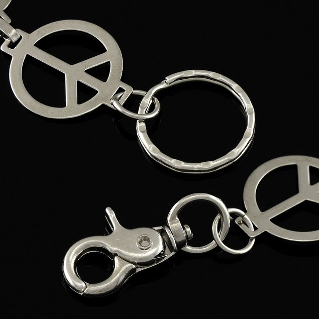 Peace Signs Chrome Plated Wallet Jeans Chain Mens Wallet Chains